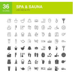 sauna line web glyph icons vector image