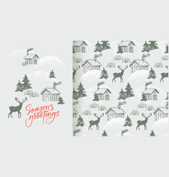 seasons greetings card and pattern vector image