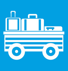 Service cart with luggage icon white vector