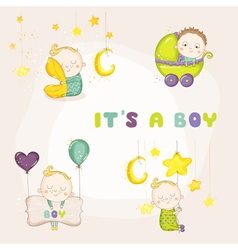 Set of Cute Baby Boy - for Baby Shower vector image