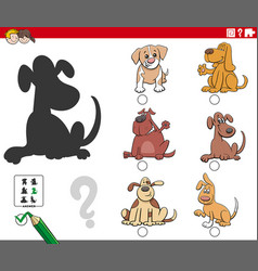 Shadows task with cartoon dogs characters vector