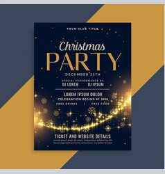 shiny christmas golden sparkles party flyer vector image