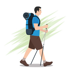 Side view hiker with backpack walking vector