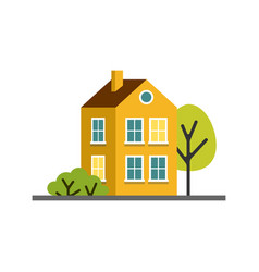 small cartoon yellow house with trees isolated vector image