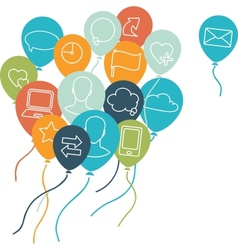 Social media balloons background vector image