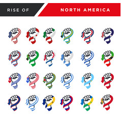 Spirit rising fist hand north america flag vector