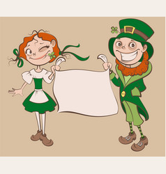 st patricks day festival young woman and man vector image
