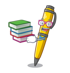 Student with book antique ink pen shape on cartoon vector