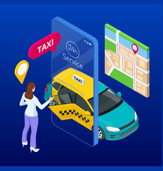Taxi service mobile phone with app on city vector