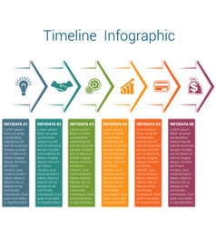 timeline infographic 6 color arrows vector image
