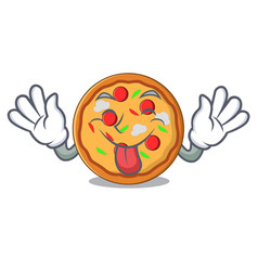 tongue out pizza mascot cartoon style vector image