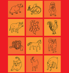 twelve animals of the chinese horoscope vector image