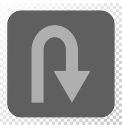 U Turn Rounded Square Button vector