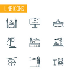 urban icons line style set with billboard bus vector image
