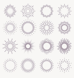 vintage sunburst bursting rays sunrise firework vector image