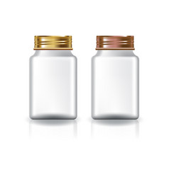 White square medicine bottle gold-copper lid vector