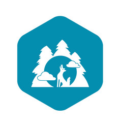 Wolf forest howl icon simple style vector
