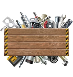 Wooden Board with Car Spares vector image