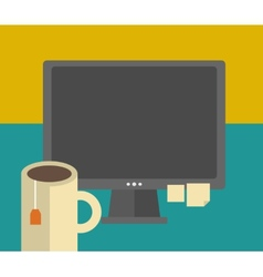 Work table with computer and tea cup vector