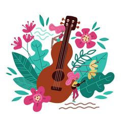 young women near big guitar hand drawn character vector image
