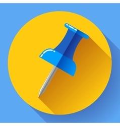 Flat Push pin icon vector image
