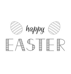 happy easter lettering and eggs for greeting card vector image