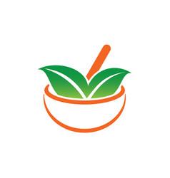 leaf medicine eco healthcare logo vector image