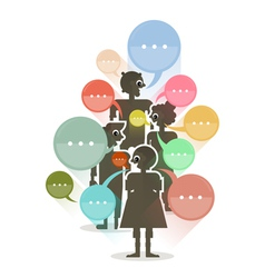 people with colorful dialog speech bubbles vector image vector image