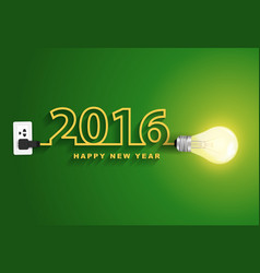 2016 happy new year concept Creative light bulb vector image