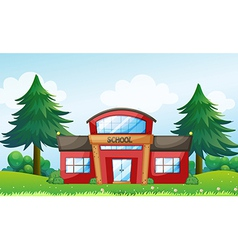 A red school building vector image