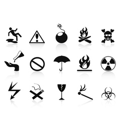 black warning icons set vector image vector image