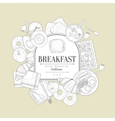 Breakfast Food Vintage Sketch vector image