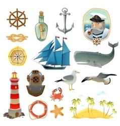 Sea Nautical Decorative Elements Set vector image