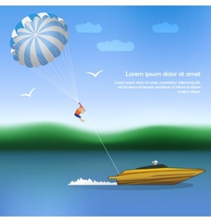 Summer parachuting over river with boat vector image