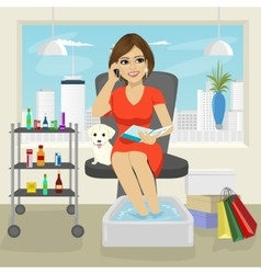 Beautiful woman getting spa pedicure procedure vector image