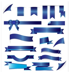 Blue ribbons set isolated on white background vector image vector image
