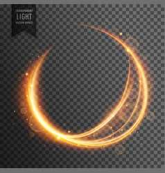 circular golden lens flare transparent light vector image vector image