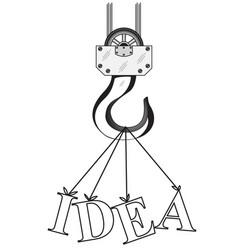 construction crane hook and word idea vector image