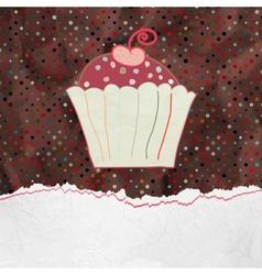 Cute retro Cupcake in frame EPS 8 vector image vector image