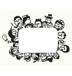 Frame with faces funny design vector image