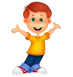Happy boy cartoon posing vector image