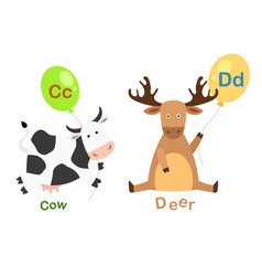isolated alphabet letter c-cowd-deer vector image