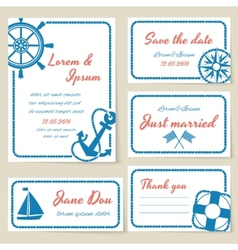 Nautical style wedding invitation and cards vector image vector image