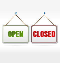 open and closed shop sign vector image vector image