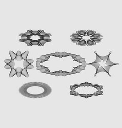 set monochrome guilloche elements for design of vector image