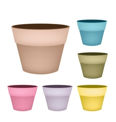 Set of Flower Pots on White Background vector image