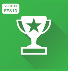 trophy award cup icon business concept winner vector image