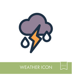 cloud rain lightning icon weather vector image
