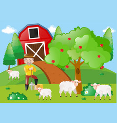 Farmer and sheeps in the field vector