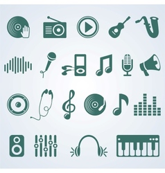 set of music icons vector image vector image
